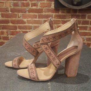 Zara Woman Suede Heeled Sandal 9